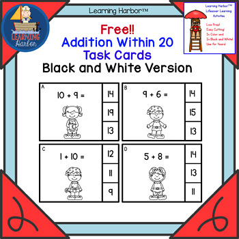 Freebie! Addition Within 20 Black and White Christmas Elf Theme