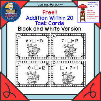 Freebie! Missing Addends Christmas Elf Theme Black and White