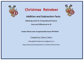 Addition and Subtractions Facts Reindeer  Matching Game