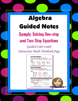 (Freebie) Algebra Guided Interactive Math Notebook Page: Solving Equations