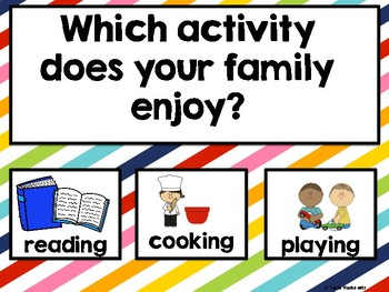 Freebie All About Family Weekly Theme Questions