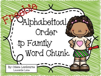 Freebie Alphabetical Order (-ip) Family Word Chunk