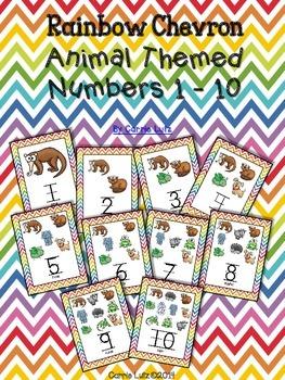 Rainbow Chevron Animal Numbers 1 - 10