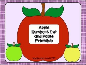 Freebie!! Apple Number Cut and Paste