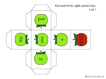 Freebie!! Apple Roll and Write a sight word- Game and Printable