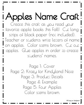 Apples Name Craft (Autumn, Fall, Back to School, First Day, Johnny Appleseed)