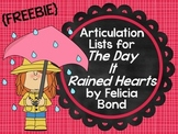 """{Freebie} Articulation Lists for """"The Day It Rained Hearts"""" by Felicia Bond"""