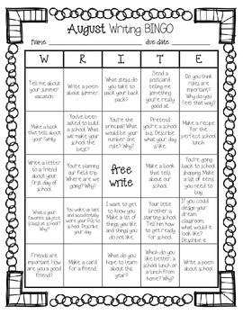 {Freebie} August ~ Back to School Writing BINGO