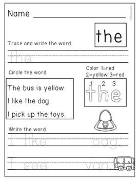 FREE Sight Word Practice