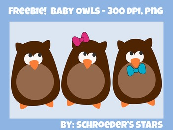Freebie!  Baby Owls Clip Art