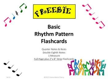 Freebie: Basic Rhythm Pattern Flashcards: 1 Measure, Set A