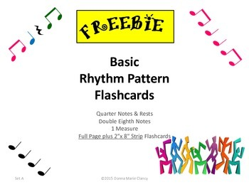 Freebie: Basic Rhythm Pattern Flashcards: 1 Measure, Set A
