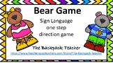 Freebie Bear Sign Language Color Game