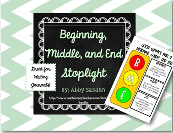 {Freebie} Beginning, Middle, and End Stoplight Organizer for Writing Journals