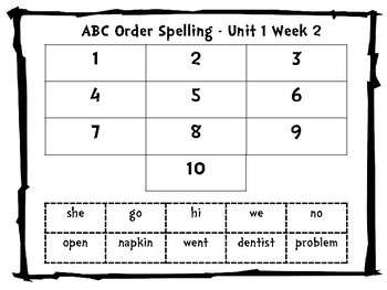 Freebie: Benchmark Advance Spelling ABC Order/ Word Work