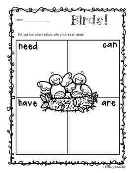 """Freebie - Birds: """"Needs - Can - Have - Are"""" Chart"""