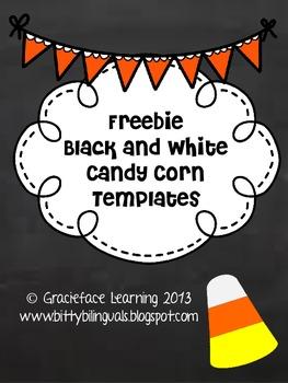 Freebie Black and White Candy Corn Template - Bilingual