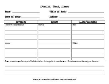 Freebie - Book Review Resource iPredict, iRead, iLearn