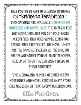 Freebie! Bridge to Terabithia by Katherine Paterson Quote Poster