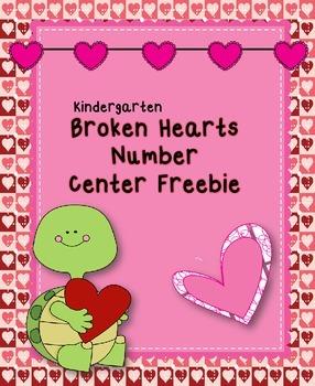 Freebie Broken Hearts Number Center for Kindergarten
