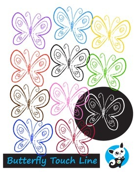 Freebie! Butterfly Outlines. Touch Line.Digital Clipart Creative Clips