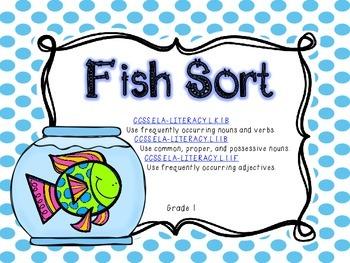 *Freebie* Fish Sort- CCSS ELA Grade 1- Noun, Verb, and Adjective