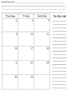 Freebie Calendar for 2018-2019
