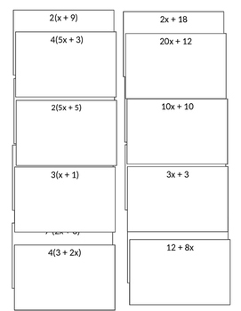 Freebie Card Sort Equivalent Algebraic Expressions using Distributive Property
