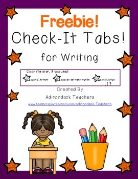 Freebie! Check-It Tabs for Writing