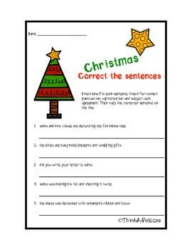{Freebie} Christmas Correct the sentences
