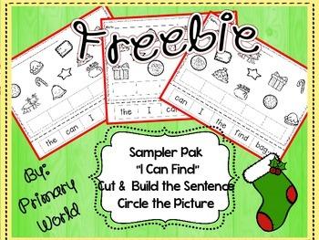 "Freebie! Christmas ""I Can Find"" Build a Sentence Sampler Pack"
