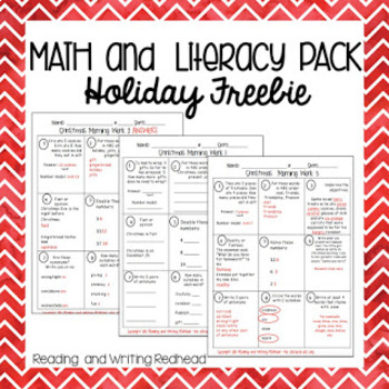 Freebie Holiday Math and Literacy Morning Work