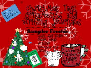Freebie Christmas Ornaments, Writing, Gift Tags