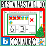 Freebie Christmas Subtraction to 10 Spanish Boom Cards PreK K and Sped Restas