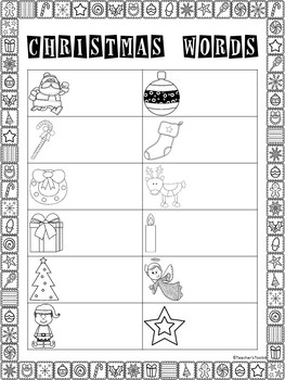 {Freebie} Christmas Vocabulary Cards Read Write The Room Activity