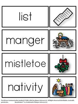 Christmas Vocabulary Words and Pictures