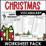 Freebie! Christmas Vocabulary Worksheet Pack for English L
