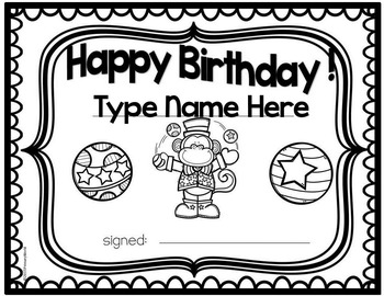Freebie Circus Birthday Certificate !  Editable