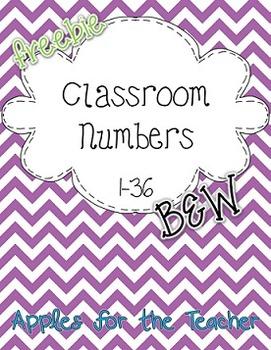 B&W Classroom Numbers 1-36