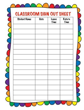 sign in and out sheets
