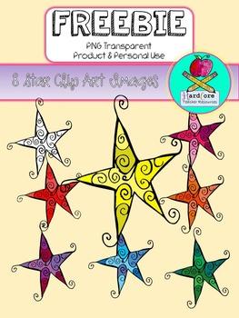 Freebie Clip Art {8 Star Images Color & Black Line}