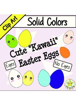 Freebie: Clip Art – Cute Kawaii Easter Eggs *Solid Colors*