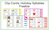 Freebie Clip Cards: Holiday Syllables