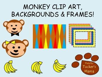 Freebie Clip art, backgrounds, frames (monkeys)