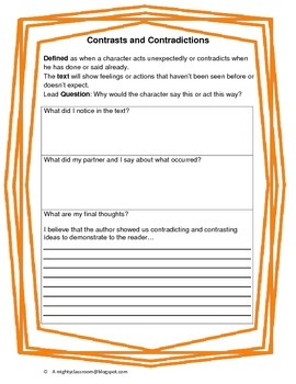 ***Freebie*** Close Reading Contrast/Contradiction Partner Discussion