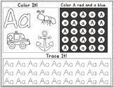 Freebie:  Color It, Look for It, and Trace It Letters A-E Worksheets