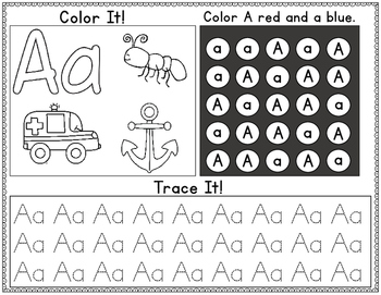 Freebie:  Color It, Look for It, and Trace It Letters A-E