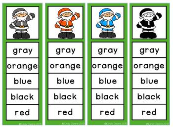 Freebie: Color Word Clip Strips featuring Santa