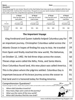 Freebie~Columbus Day Fluency Passage & Comprehension