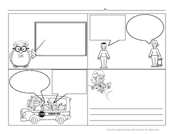 comic strip template with characters  Freebie Comic Template